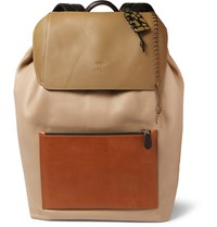 Coach Colour Block Grained Leather Backpack Tan