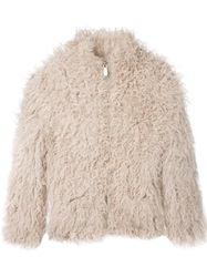 Iro Fur Jacket Nude And Neutrals