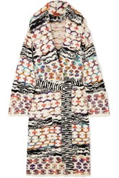 Missoni Belted Wool Blend Coat White