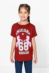 Boohoo Oversized Unicorn Tee Berry