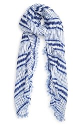 Roffe Accessories Women's Roffee Pompom Scarf Blue White