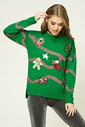 Forever 21 Patched Holiday Sweater Green Red