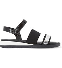 Dune Lightening Strappy Leather Sandals Black Leather
