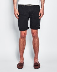 The Idle Man Denim Shorts In Washed Black