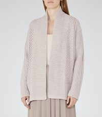Reiss Opal Womens Cable Knit Cardigan In Grey