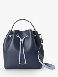 Kate Spade New York Vivian Leather Medium Bucket Bag Blazer Blue