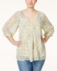 Eyeshadow Plus Size Printed Three Quarter Sleeve Blouse Lime Green Multi