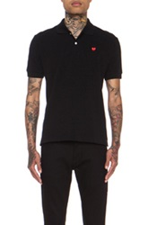 Comme Des Garcons Play Small Red Emblem Cotton Polo In Black
