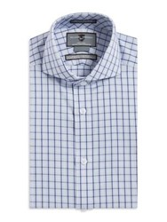Black Brown Checkered Slim Fit Cotton Dress Shirt Navy