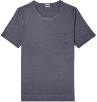 Massimo Alba Panarea Slim Fit Garment Dyed Cotton Jersey T Shirt Navy