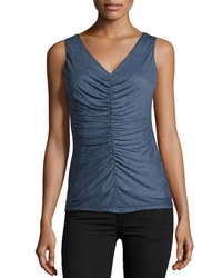 Lafayette 148 New York Ruched V Neck Tank Denim Blue