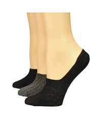 Steve Madden 3 Pack Cable Solid Footie Black Charcoal No Show Socks Shoes