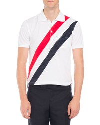 Thom Browne Tricolor Stripe Polo Shirt White Red Navy Red Pattern