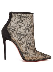 Christian Louboutin Psybootie 100 Embroidered Mesh Ankle Boots Black