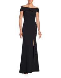 Betsy And Adam Crisscross Crepe Gown Black
