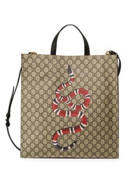 Gucci Snake Gg Supreme Soft Tote Bag Beige Ebony