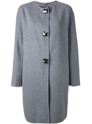 Ermanno Scervino Button Down Oversized Coat Grey