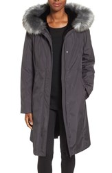 Gallery Women's Hooded Water Repellent Long Storm Coat With Faux Fur Lining And Trim