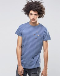 Systvm Meter Distressed T Shirt In Stripe Blue