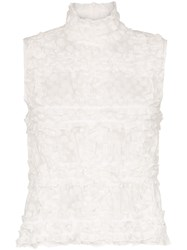 Paskal Polka Dot Ruffle Detail Sleeveless Blouse White