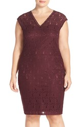 Plus Size Women's Junarose 'Jolin' Illusion Yoke Sleeveless Lace Sheath Dress