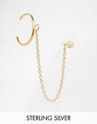 Asos Gold Plated Sterling Silver Stud And Chain Ear Cuff