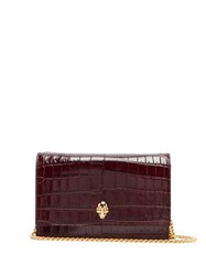 Alexander Mcqueen 3D Skull Crocodile Effect Leather Shoulder Bag Burgundy