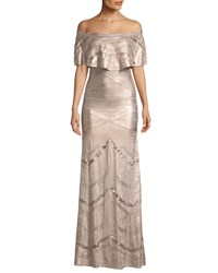Herve Leger Off The Shoulder Bandage And Foil Knit Evening Gown Pink Gold