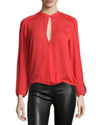 Halston Heritage Long Sleeve Faux Wrap Top Lipstick