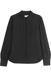Frame Le Victorian Washed Silk Blouse Black