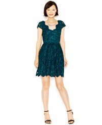 Betsey Johnson Cap Sleeve Lace Party Dress Green
