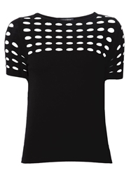 Piazza Sempione Perforated Knitted Top Black
