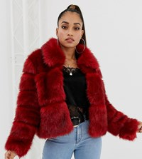 Missguided Petite Bubble Faux Fur Coat In Red