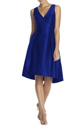 Women's Alfred Sung Satin High Low Fit And Flare Dress Royal