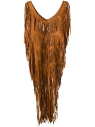 Caravana Fringed Leather Top Brown