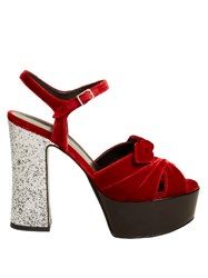 Saint Laurent Candy Bow Detail Velvet Platform Sandals Red Silver