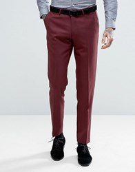 Noose And Monkey Skinny Tuxedo Trouser Burgundy Red