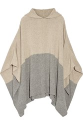 Chinti And Parker Hooded Color Block Cashmere Poncho Mushroom