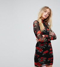 Noisy May Tall Mesh Dress With Rose Print Multi