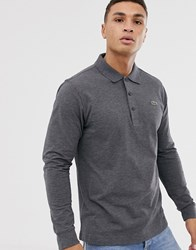 Lacoste Sport Logo Long Sleeve Polo In Charcoal Marl Grey