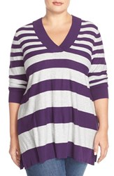 Plus Size Women's Sejour V Neck Sweater Purple Grey Varigated Stripe
