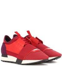 Balenciaga Leather Trimmed Sneakers Red