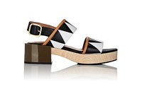 Marni Women's Leather Double Band Platform Sandals Black White No Color Black White No Color