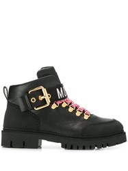 Moschino Logo Tape Ankle Boots Black
