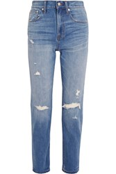 Madewell The Perfect Vintage Distressed High Rise Straight Leg Jeans Mid Denim