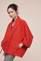 Anthropologie Into The Woods Fleece Poncho Red