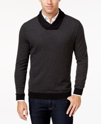 Tasso Elba Men's Big And Tall Shawl Collar Sweater Only At Macy's Black Combo