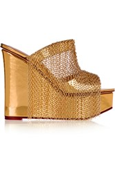 Charlotte Olympia Chain Trimmed Metallic Leather Wedge Sandals