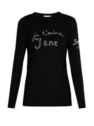 Bella Freud Je T'aime Jane Merino Wool Sweater Black