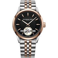 Raymond Weil 2780 Sp520001 'S Freelancer Automatic Open Balance Wheel Two Tone Bracelet Strap Watch Silver Rose Gold